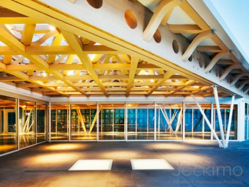 aspen art museum glass flooring panels   frosted