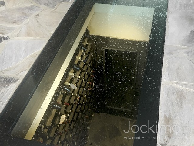 wine cellar glass floor close